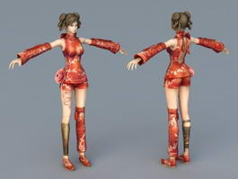 Chinese Girl Warrior 3d model