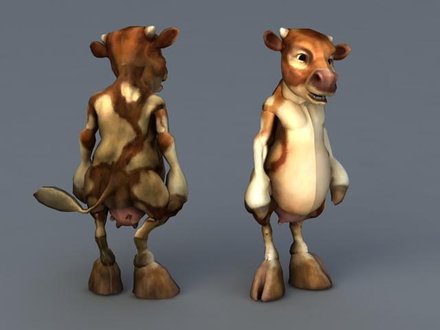 Humanoid Cow Cartoon 3d model