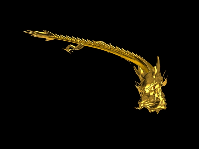Animated Golden Dragon 3d model