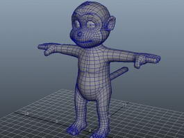 Cute Cartoon Monkey 3d model