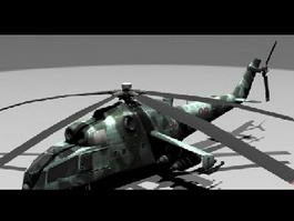 Mi-24 Attack Helicopter 3d model