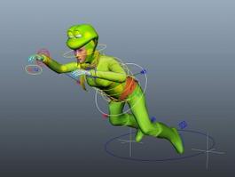 Female Humanoid Frog Rig 3d model