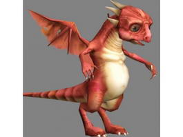 Cute Red Dragon 3d model