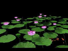 Pink Lotus Flowers 3d model