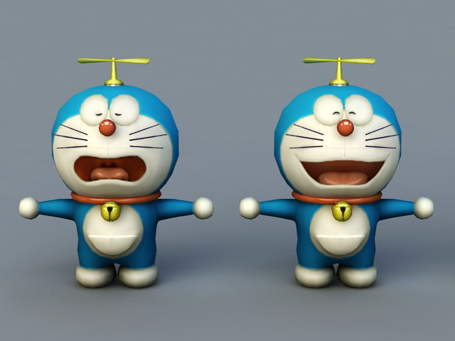 Doraemon Cartoon 3d Model 3ds Max Files Free Download Modeling