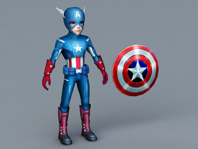 Captain America Cartoon 3d Model 3ds Max Files Free