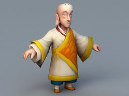 Buddhist Monk Cartoon 3d model