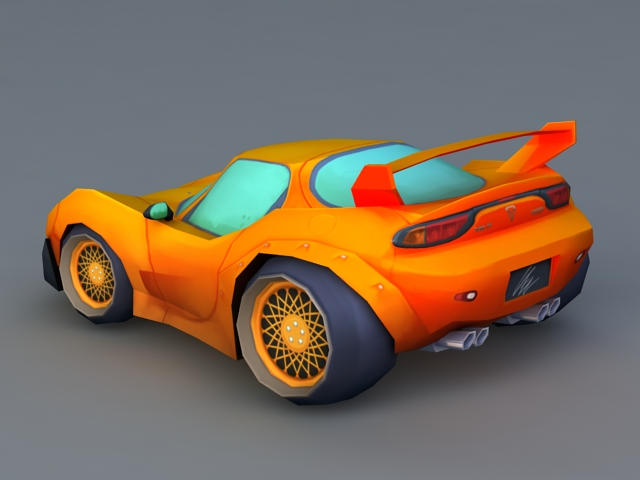 Cartoon Sports Car 3d Model Object Files Free Download Modeling