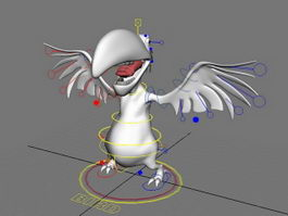 Cartoon Vulture Bird Rig 3d model