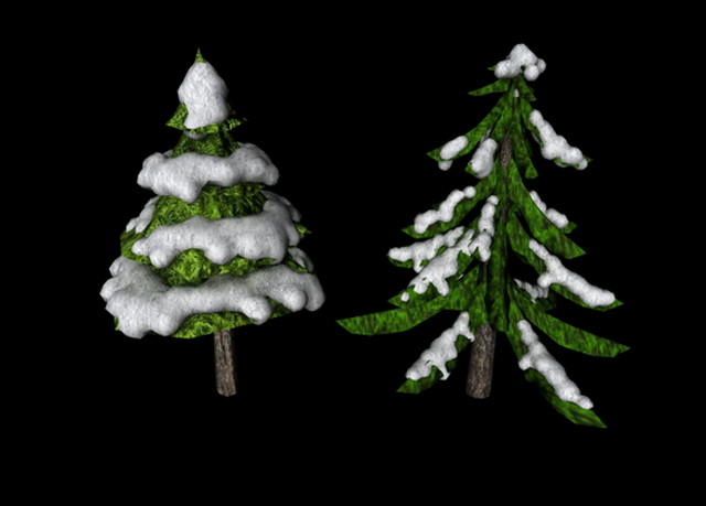 Snowy Pine Trees 3d model