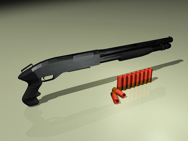 Shotgun and Bullets 3d model