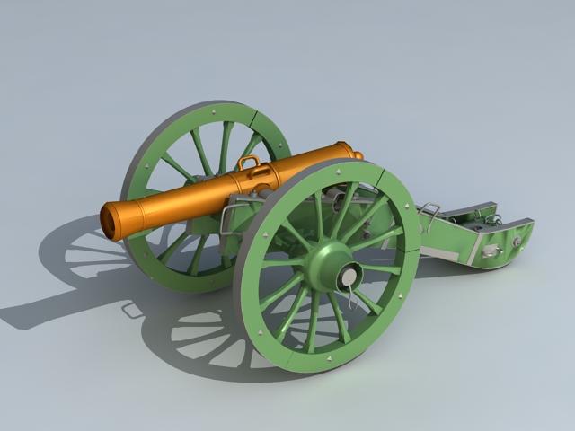 Civil War Field Gun 3d model 3D Studio,Object files free download