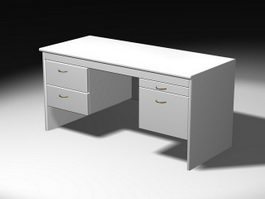 White Office Desk 3d model
