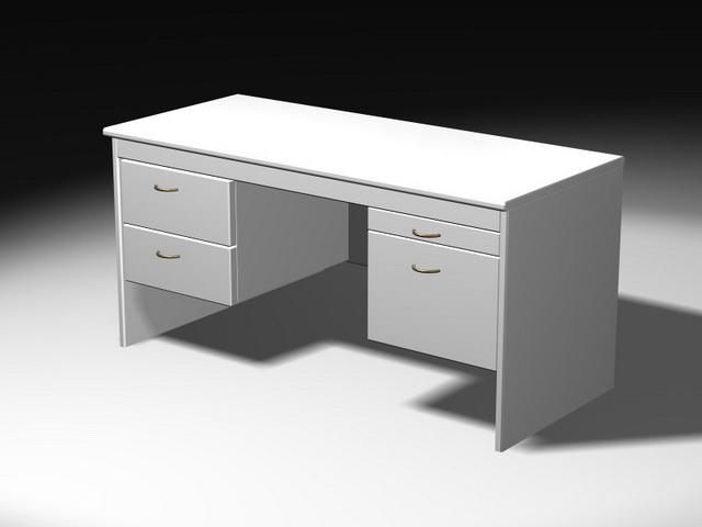 White Office Desk 3d model