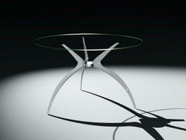 Round Glass Kitchen Table 3d model