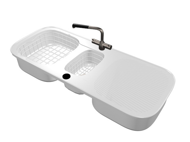 Kitchen Sink with Drainboard 3d model