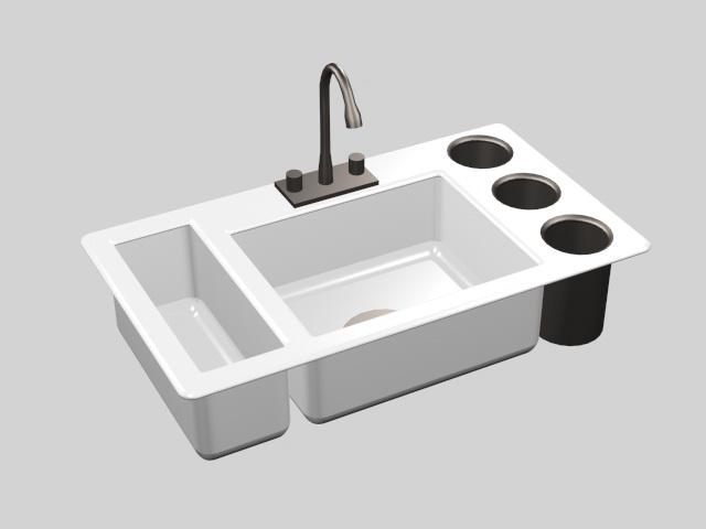 White Ceramic Kitchen Sink 3d model