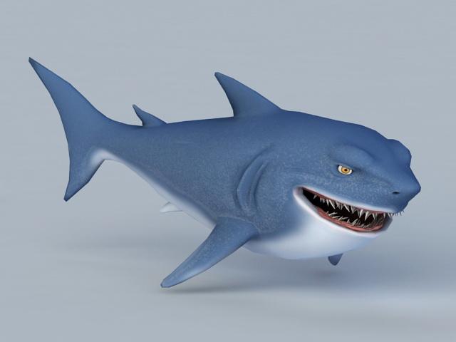 Cartoon Shark Rig 3d model