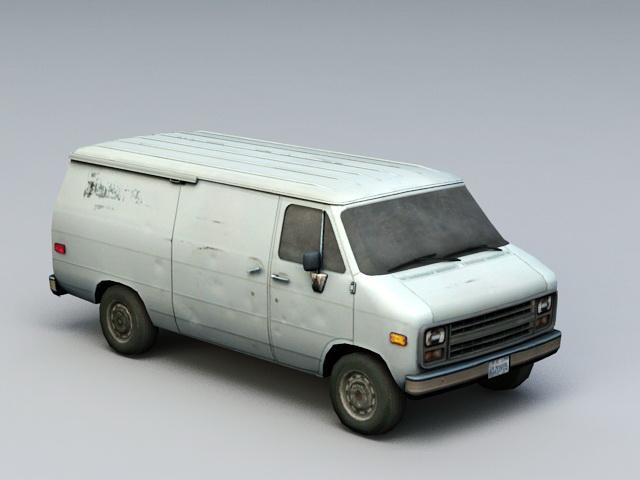 Rusted Old Van 3d model