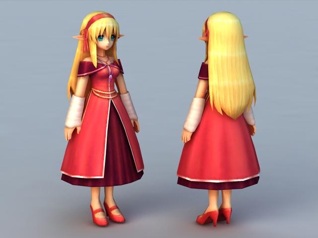 Elf Princess Anime Girl 3d Model 3ds Max Files Free