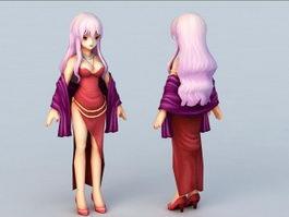 Motherly Anime Woman 3d model