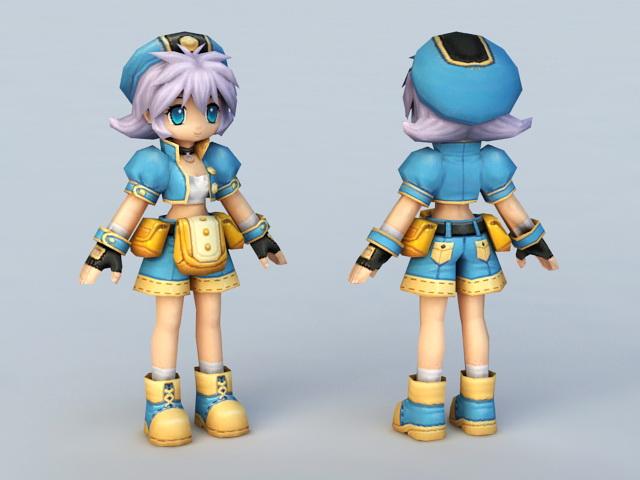 Anime Female Mechanic 3d model