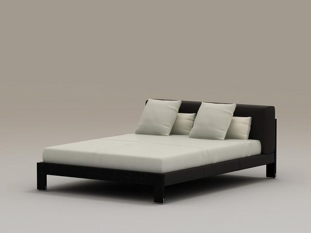 Wood Platform Bed 3d model