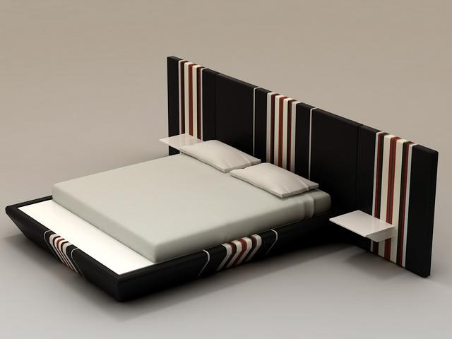 Contemporary Platform Bed 3d model