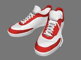 Red and White Sneakers 3d model