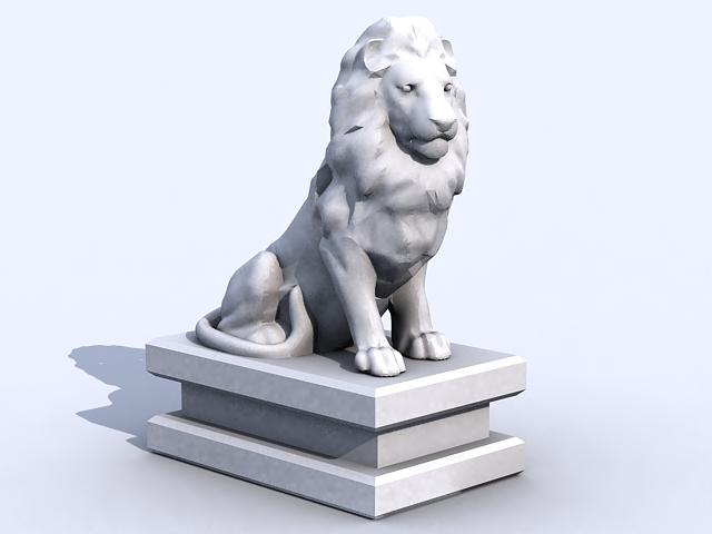 Stone Lion Statue 3d model