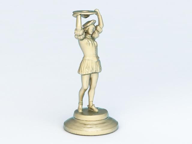 Bronze Woman Statue 3d model