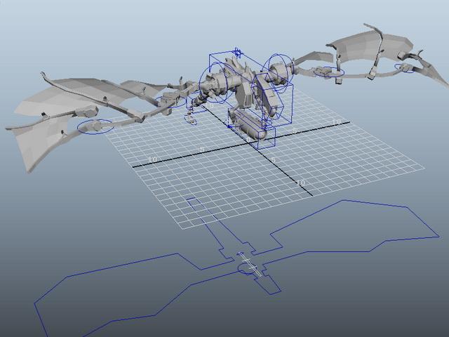 Robot Dragon Rig 3d model