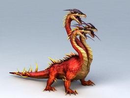 Three Headed Dragon 3d model