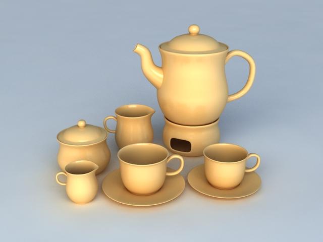 English Tea Sets 3d model