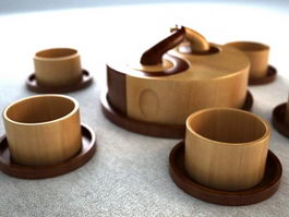 Classic Wooden Tea Set 3d model