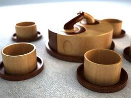 Classic Wooden Tea Set 3d model