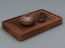 Chinese Wooden Tea Set 3d model