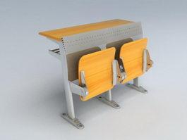 Fixed Floor School Desk and Chair 3d model