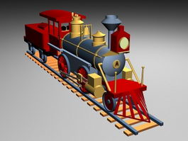 Railroad Train with Toys 3d model