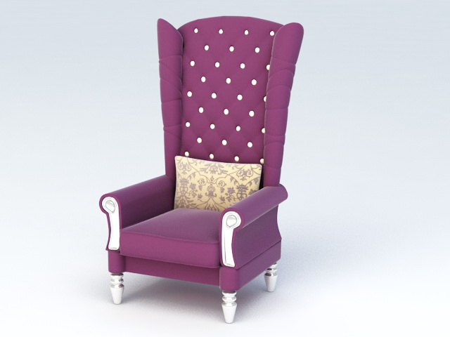 High Back Accent Chair 3d model