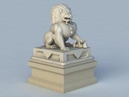 Asian Lion Statue 3d model