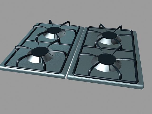 4 Burner Gas Stove 3d model
