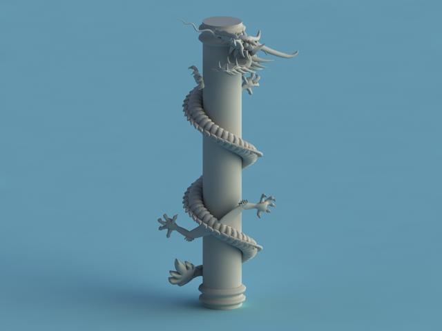 Chinese Dragon Pillar 3d model