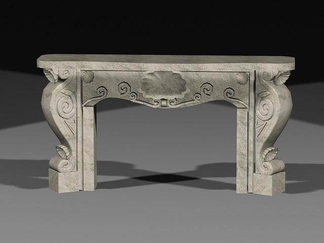 Rustic Stone Fireplace 3d model
