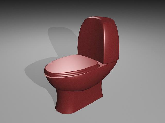 Red Toilet 3d model