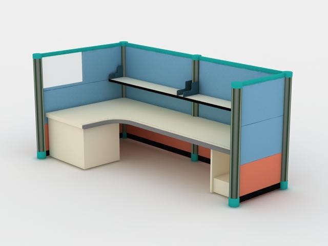 Modern Office Cubicle 3d model