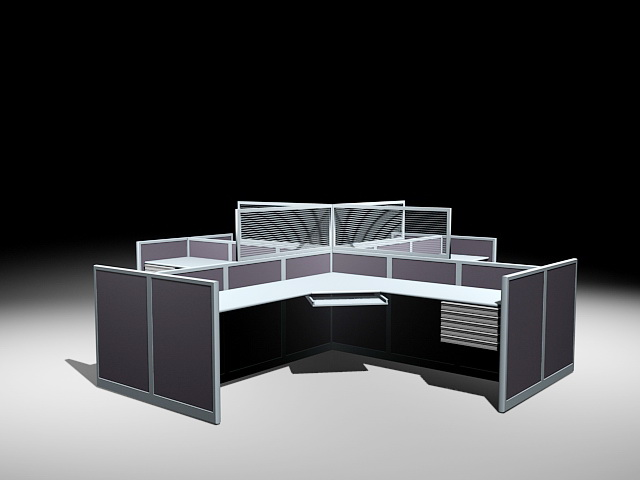 Quad Cubicle Workstations 3d model