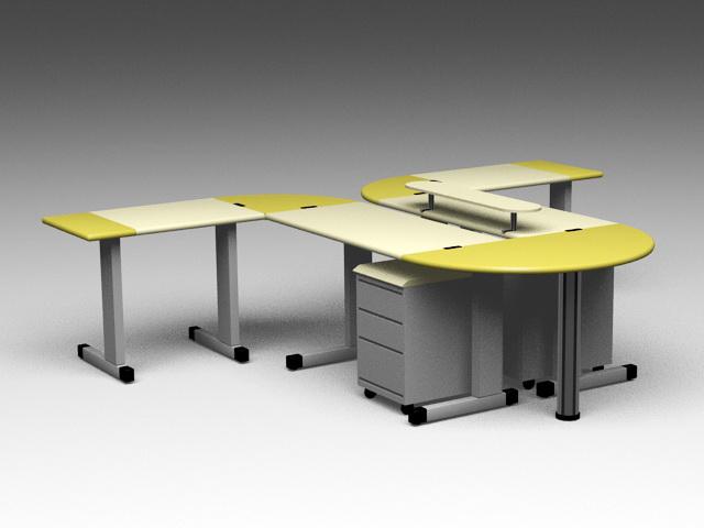 Modern Office Workstations 3d model