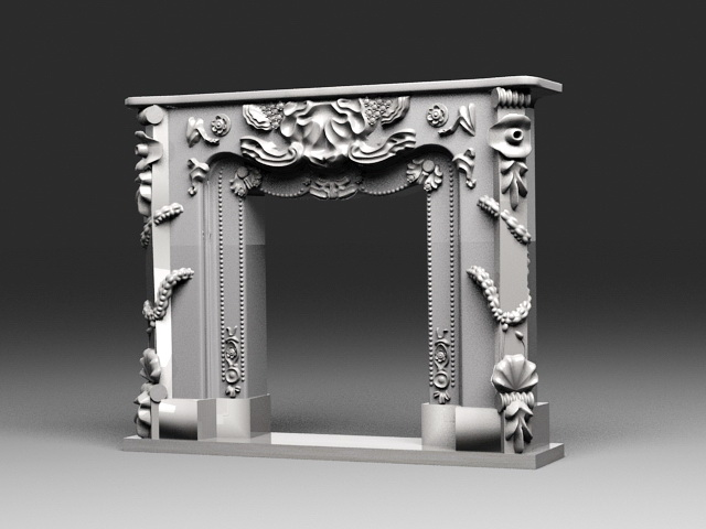 Old Stone Fireplace 3d model