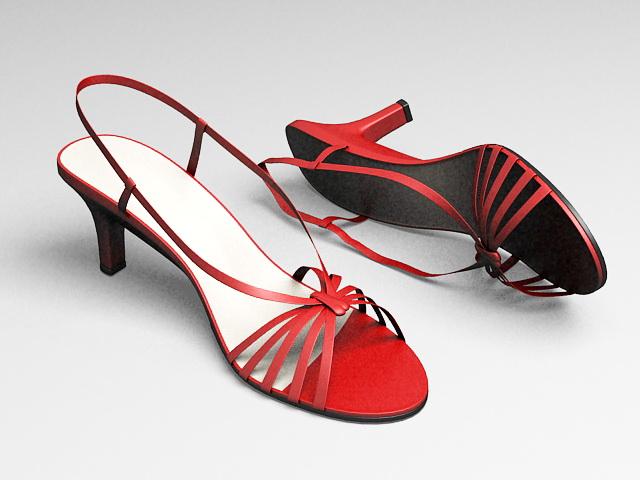Red Evening Sandals 3d model